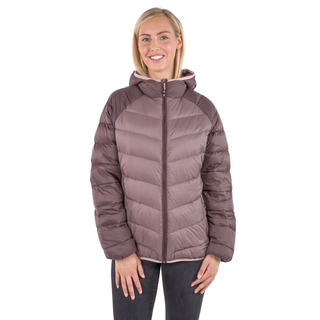 Trespass Womens Down Jacket Hooded Kirstin in Light Purple