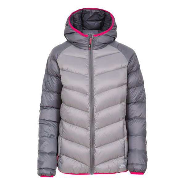 Trespass Womens Down Jacket Hooded Kirstin in Storm Grey
