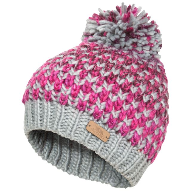Kresteva Kids' Unisex Knitted Hat with Pom Pom in Grey, Hat at angled view