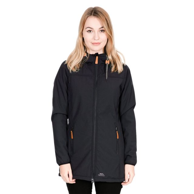 Trespass Womens Softshell Jacket Long Hooded Kristen in Black