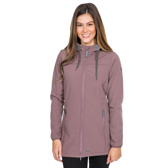 Trespass Womens Softshell Jacket Long Hooded Kristen in Light Purple