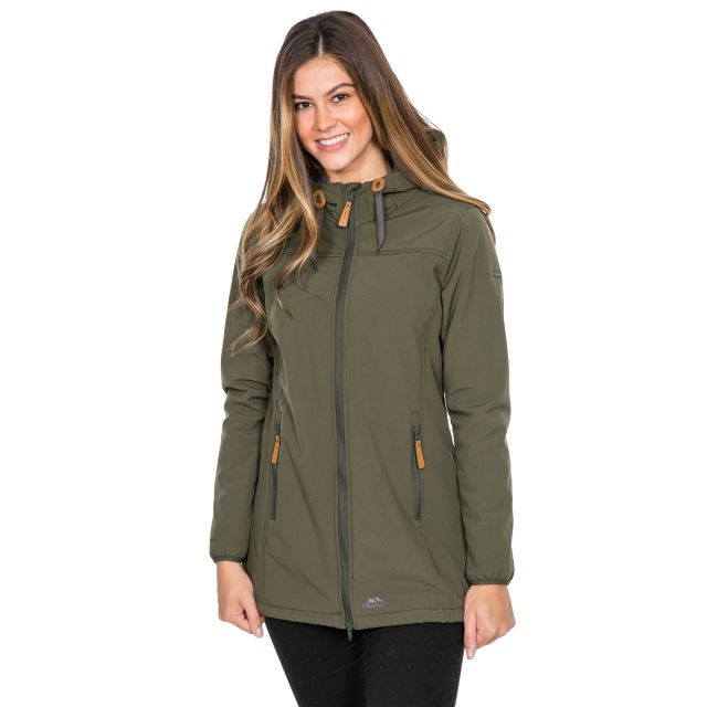Trespass Womens Softshell Jacket Long Hooded Kristen in Khaki