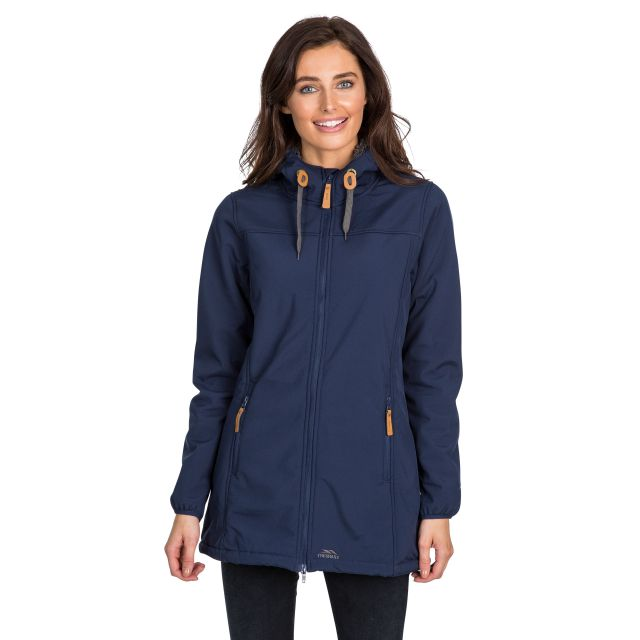 Trespass Womens Softshell Jacket Long Hooded Kristen in Navy