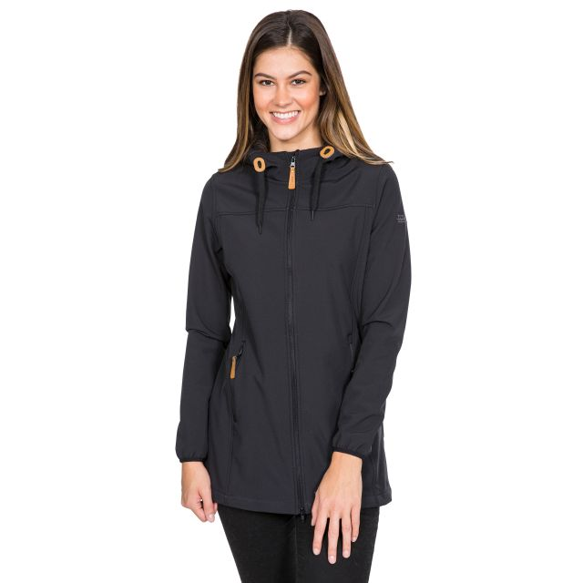 Kristy Women's Long Hooded Softshell Jacket in Black