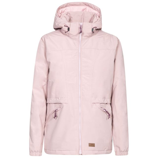 Trespass Womens Waterproof Jacket Windproof Liberate in Pink, Front view on mannequin