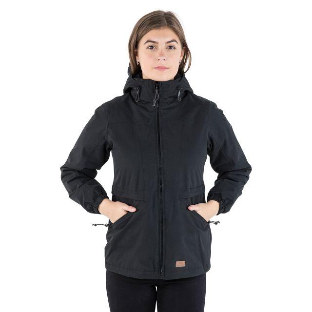 Trespass Womens Waterproof Jacket Windproof Liberate in Black
