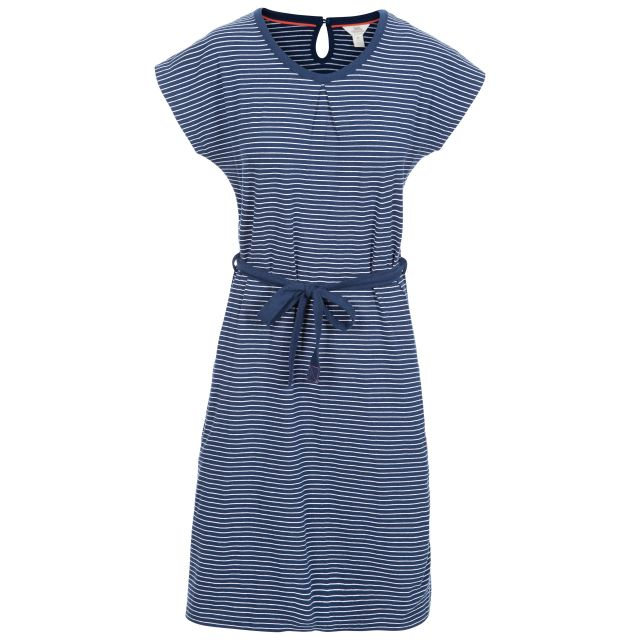 Lidia Women's Round Neck Cotton Dress in Navy