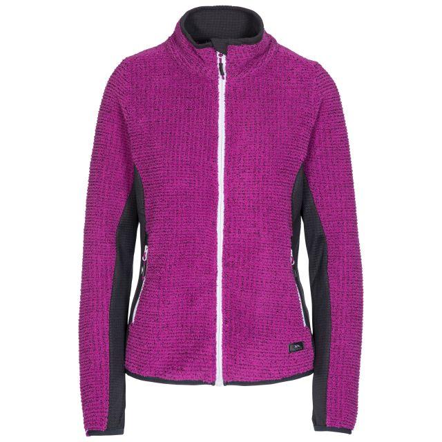 Liggins Women's Fleece in Purple, Front view on mannequin
