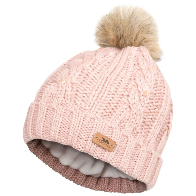 Lillia Women's Knitted Bobble Hat in Pink