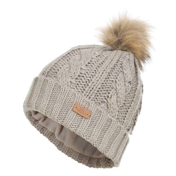Lillia Women's Knitted Bobble Hat in Beige