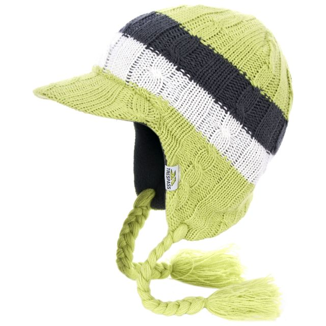 Lobo Kids' Knitted Beanie Hat in Neon Green