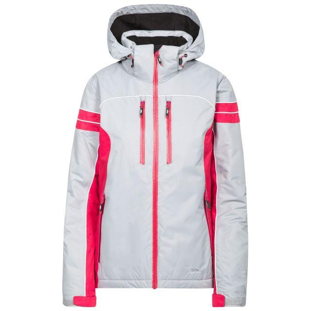 Locki Women's Waterproof Ski Jacket  in Grey, Front view on mannequin