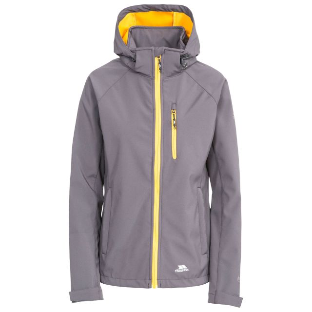 Trespass Womens Softshell Jacket Hooded Lorina in Grey, Front view on mannequin