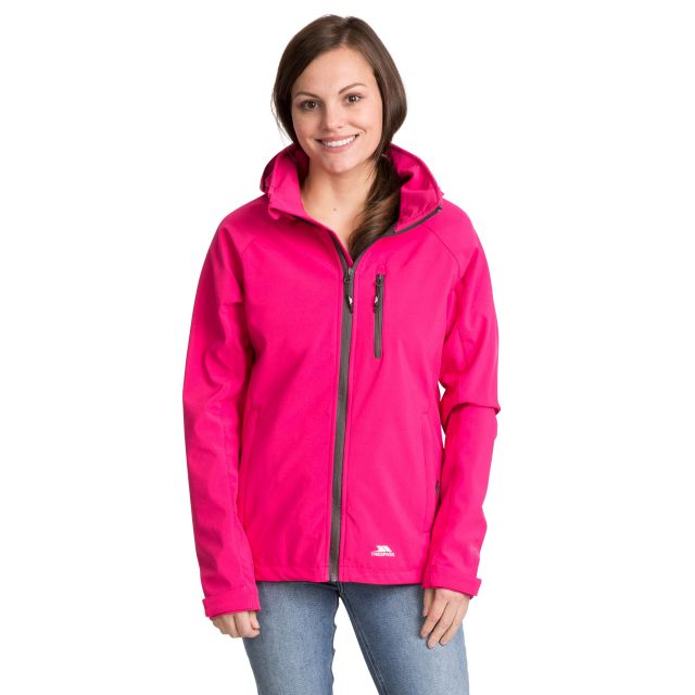 Trespass Womens Softshell Jacket Hooded Lorina in Pink