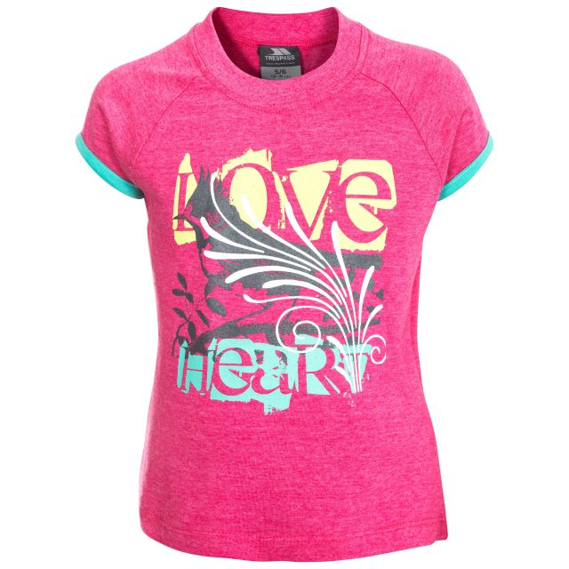 Lovebird Kids' Printed Short Sleeved T-shirt in Pink