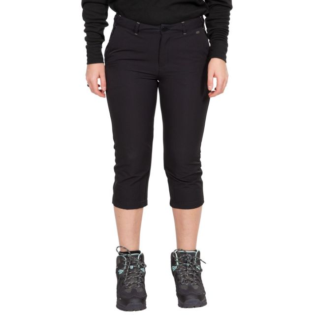Mags Women's Active Shorts in Black, Front view on mannequin