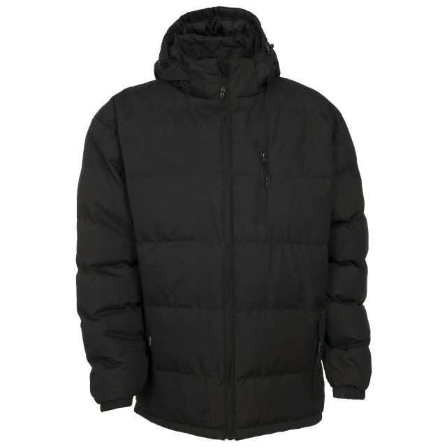 Clip Men's Hooded Padded Casual Jacket in Black
