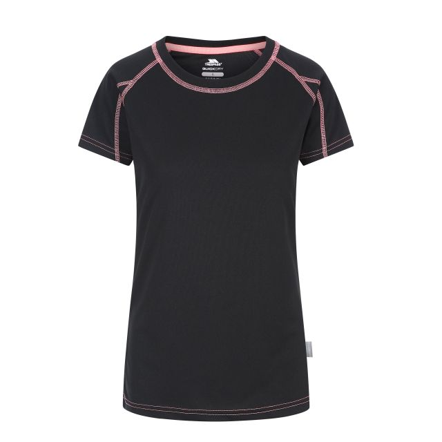 Mamo Women's Quick Dry T-Shirt in Black, Front view on mannequin