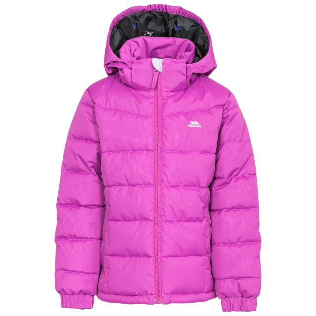 Marey Girls' Water Resistant Padded Jacket in Purple, Front view on mannequin