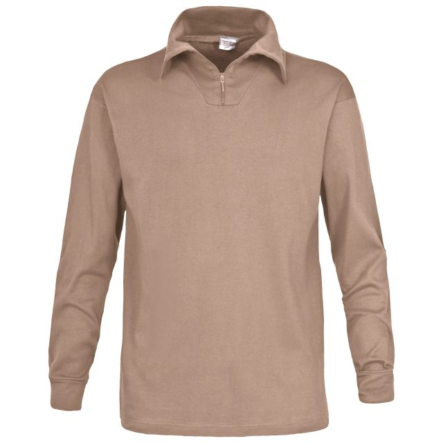 Dolomite Mens Long Sleeve Cotton Jersey Ski Polo Top in Beige