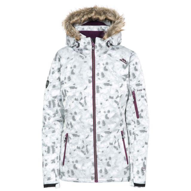 Trespass Women Ski Jacket Hooded Merrion in Grey, Front view on mannequin