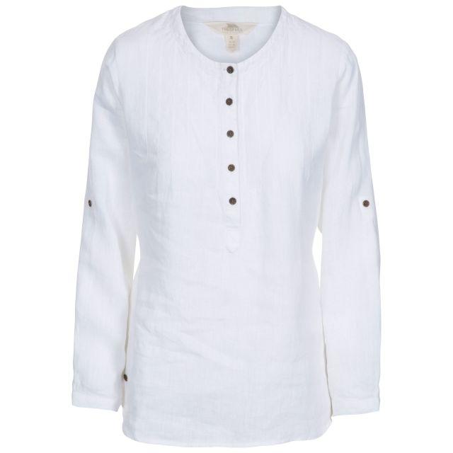 Messina Women's Long Sleeve Linen Blouse - WHT