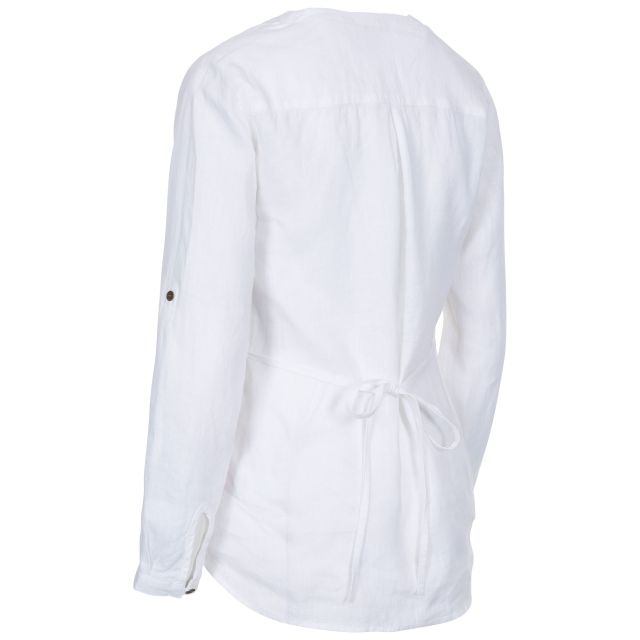 Messina Women's Long Sleeve Linen Blouse in White