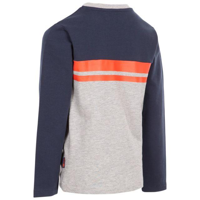 Trespass Kids Long Sleeve Top Round Neck Stripe Method Grey