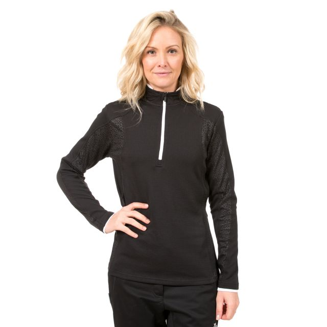 Ollog Women's 1/2 Zip Long Sleeve Active Top in Black