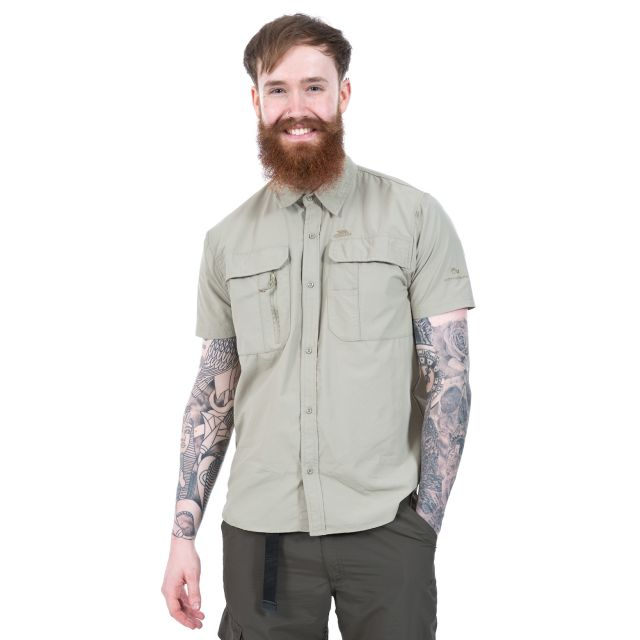 Colly Men's Short Sleeve Mosquito Repellent Shirt in Beige