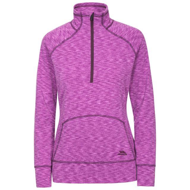 Moxie Women's 1/2 Zip Long-Sleeve Top in Purple, Front view on mannequin