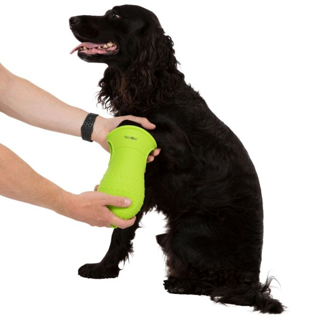 Mucky Trespaws Dual Paw Cleaner & Silicone Bathing Brush in Neon Green