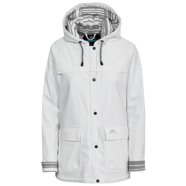 Trepass Womens Waterproof Jacket Hooded Muddle in White, Front view on mannequin