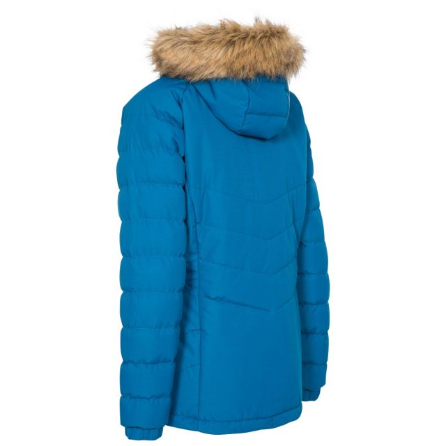 Nadina Women's Padded Hooded Casual Jacket in Blue