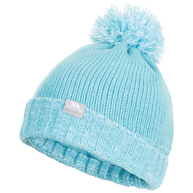 Trespass Kids Bobble Hat Knitted Fleece Lined Nefti Aqua, Hat at angled view