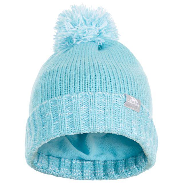 Trespass Kids Bobble Hat Knitted Fleece Lined Nefti Aqua
