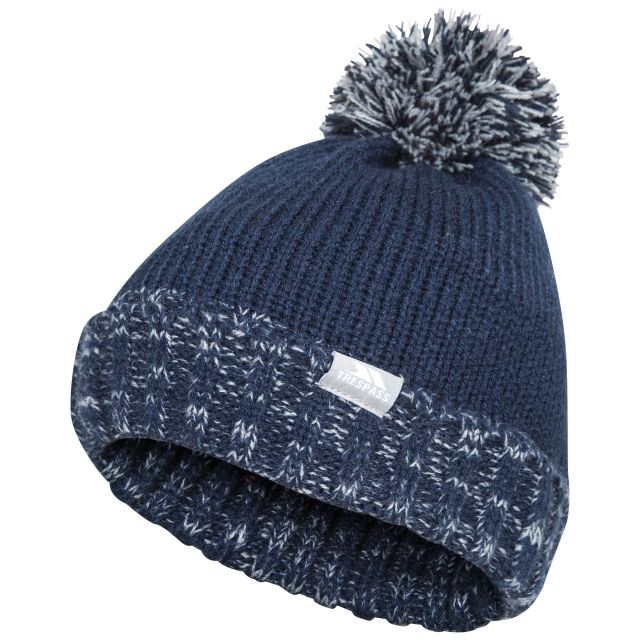 Trespass Kids Bobble Hat Knitted Fleece Lined Nefti Navy