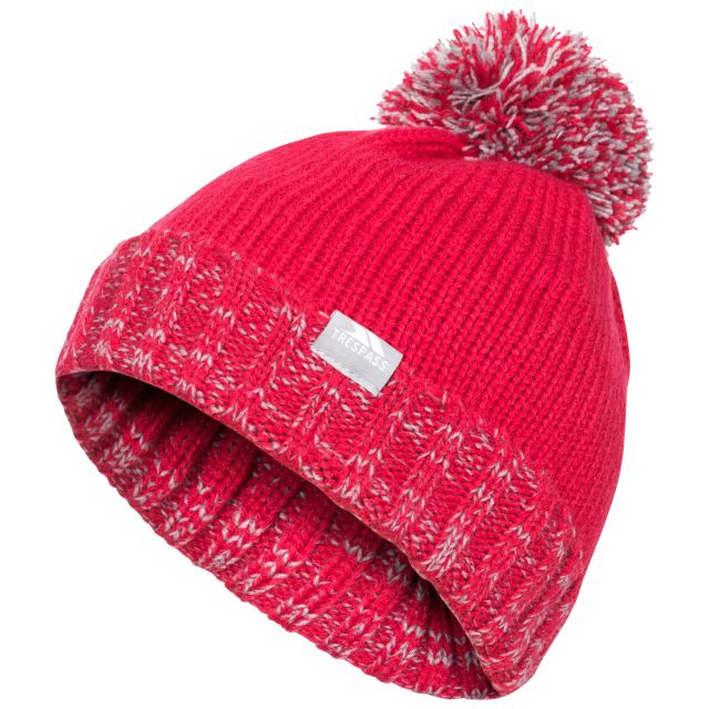 Trespass Kids Bobble Hat Knitted Fleece Lined Nefti Raspberry