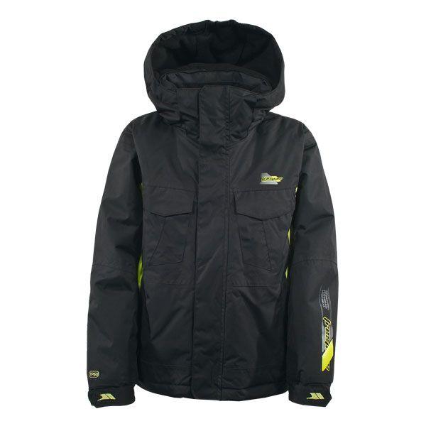 Negasi Boys' Fleece Lined Ski Jacket in Black, Front view on mannequin
