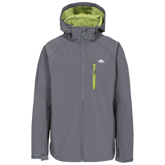 Nider Men's Hooded Softshell Jacket in Grey, Front view on mannequin