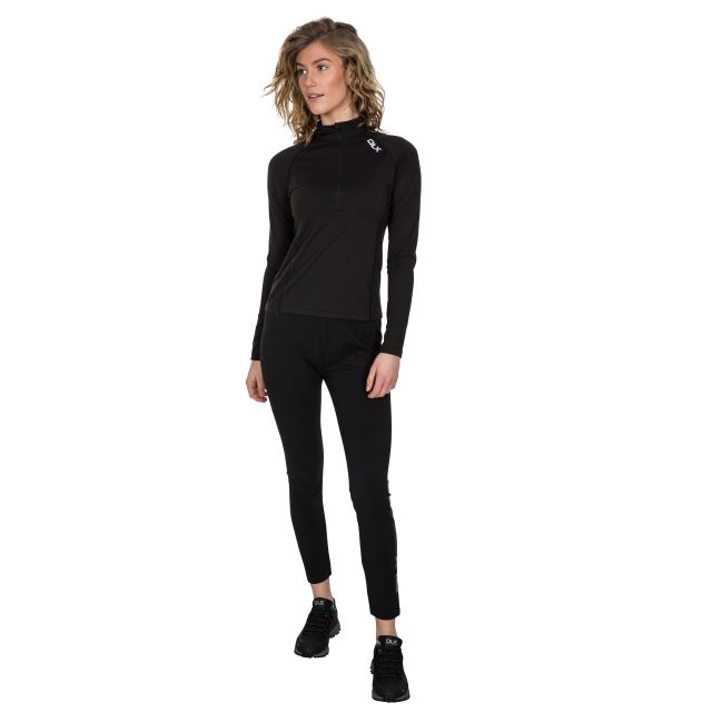 Odette Women's DLX 1/2 Zip Long Sleeve Active Top - BLK