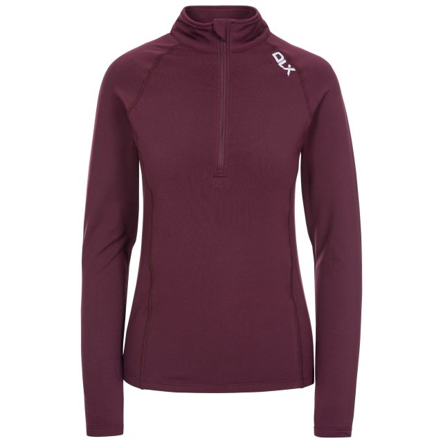 Odette Women's DLX 1/2 Zip Long Sleeve Active Top in Purple