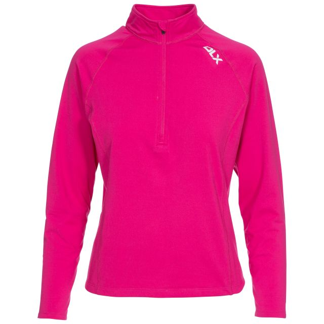 Odette Women's DLX 1/2 Zip Long Sleeve Active Top in Pink