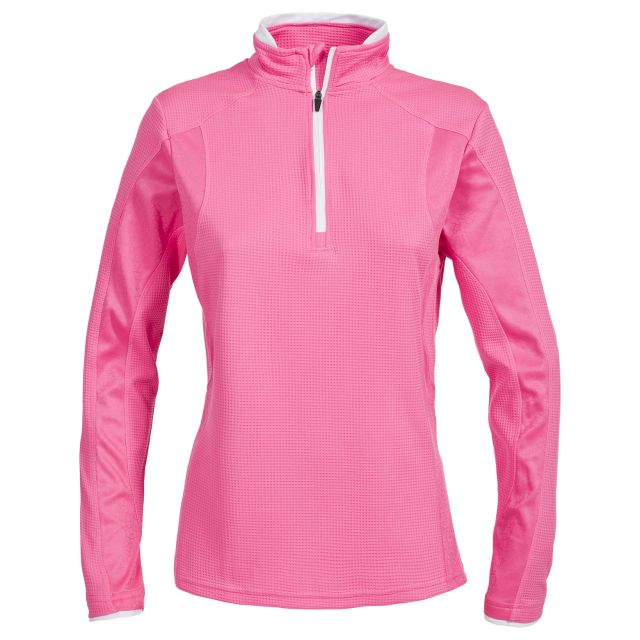 Ollog Women's 1/2 Zip Long Sleeve Active Top in Pink