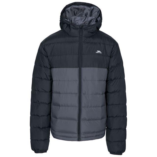 Oskar Men's Padded Water Resistant Jacket in Black, Front view on mannequin