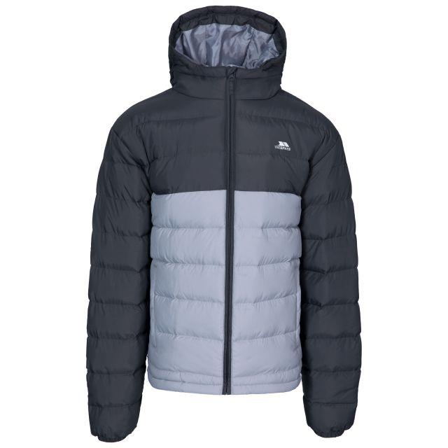 Oskar Men's Padded Water Resistant Jacket in Grey, Front view on mannequin