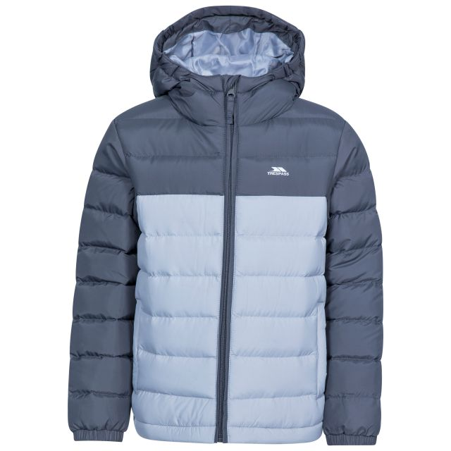 Oskar Kids' Padded Casual Jacket in Grey, Front view on mannequin