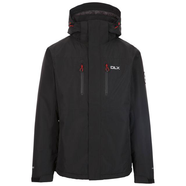 Trespass Men's Padded Waterproof Jacket Zip Off Hood Oswarm Black, Front view on mannequin