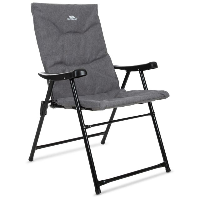 Paddy Folding Padded Camping & Garden Deck Chair Grey Marl, Angled view of chair