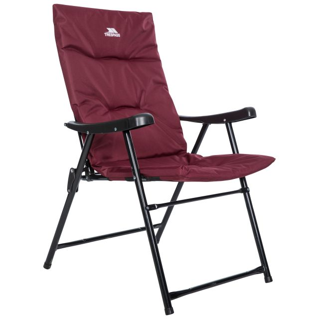 Trespass Folding Padded Camping & Garden Deck Chair Paddy in Maroon, Angled view of chair
